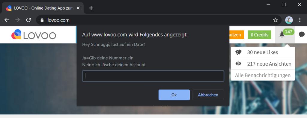 Benachrichtigung lovoo screenshot Lovoo Screenshot
